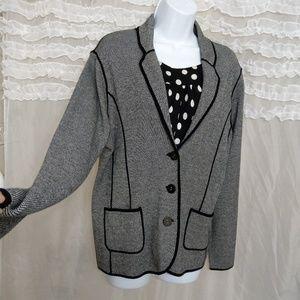 Jones New York Checkered B&W Sweater Blazer